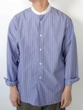 STILL BY HAND スティルバイハンド SH04202 クレリック バンドカラーシャツ BLUE-STRIPE