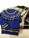 COOHEM (コーヘン) 20-183-004 MOHAIR NORDIC KNIT SWEATER BLUE/BEIGE/BLACK