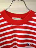 MAISON KITSUNE メゾンキツネ L/S MARIN TEE-SHIRT TRICOLOR 長袖 マリンTシャツ RED×WHITE