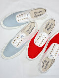 MAISON KITSUNE メゾンキツネ キャンバススニーカー MADE IN JAPAN WHITE×RED、WHITE×SAX
