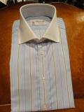 TURNBULL&ASSER(ターンブル&アッサー)blue×beigeストライプクレリックシャツ H2556 wide ターンバックカフス