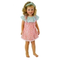 Sweet ruffle -necked dress with button feature, Cherry Baby