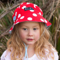 Ava Red Dot Sunhat with Blue Underlay