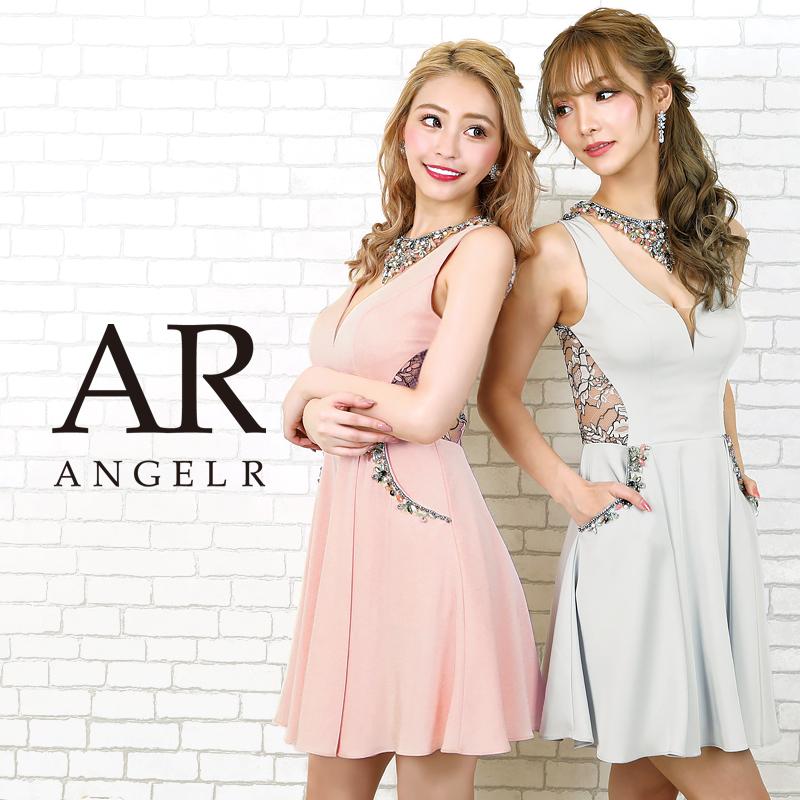【予約】[デコルテビジューサイドシアーレースフレアミニドレス]AngelR(エンジェルアール) AR20206【3月上旬~中旬頃より発送】