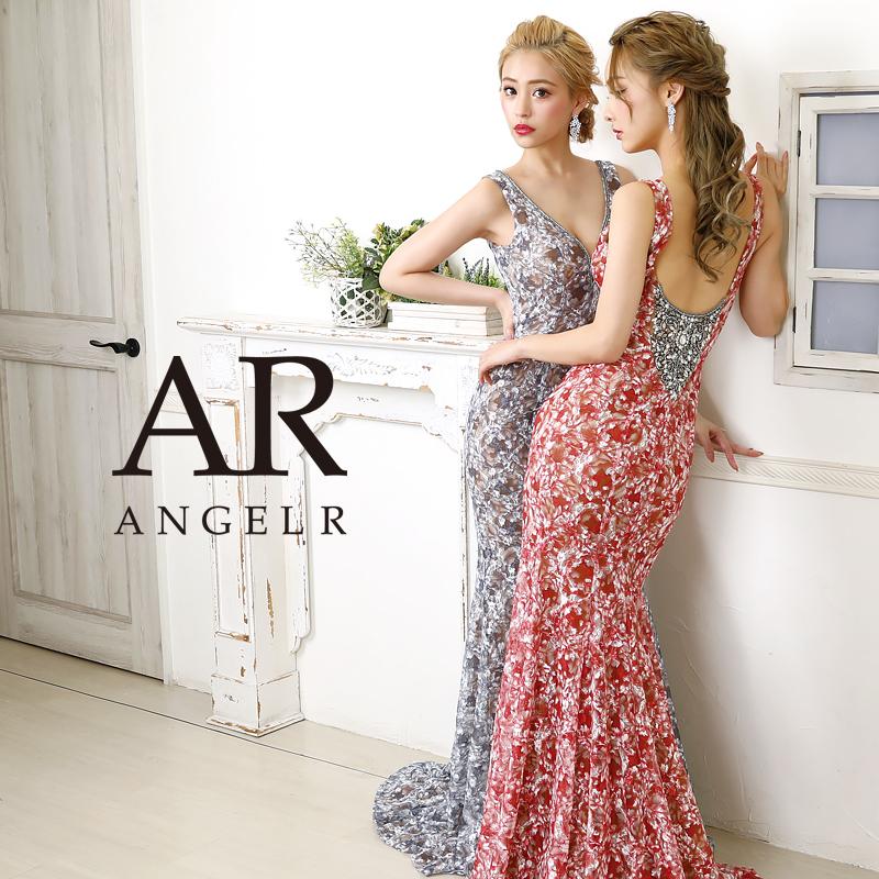 【予約】[フラワーパターンデザインビジューロングドレス]AngelR(エンジェルアール)|AR20207【3月上旬~中旬頃より発送】