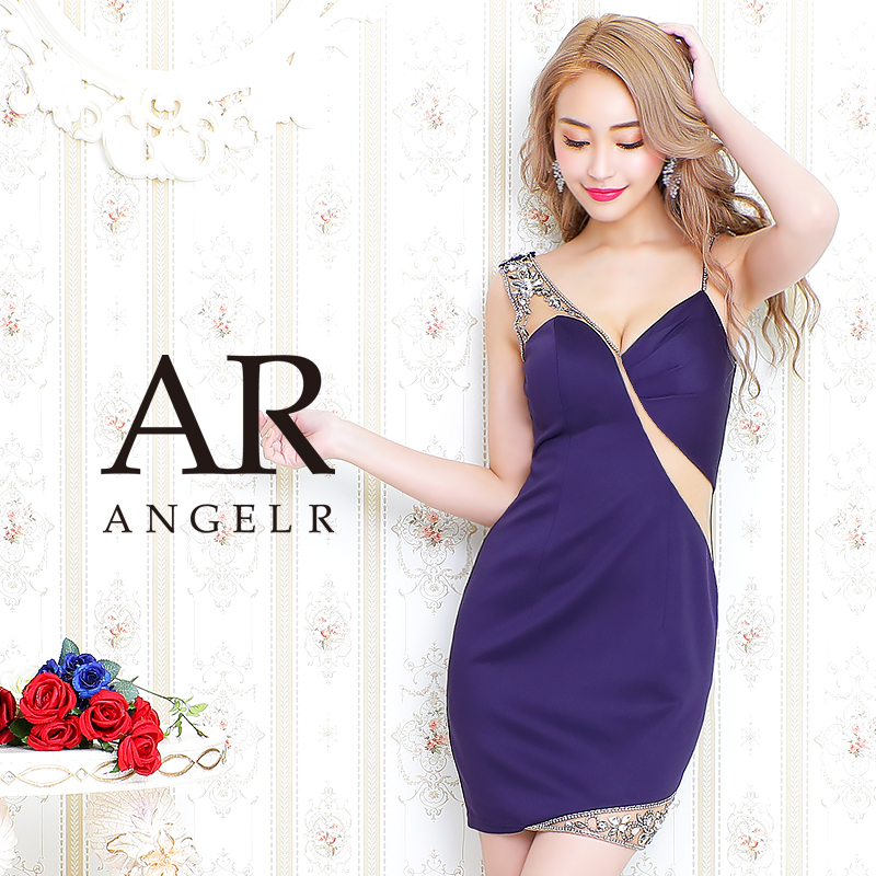 [アシンメトリーショルダーメッシュカッティングタイトミニドレス]AngelR(エンジェルアール)|AR20226
