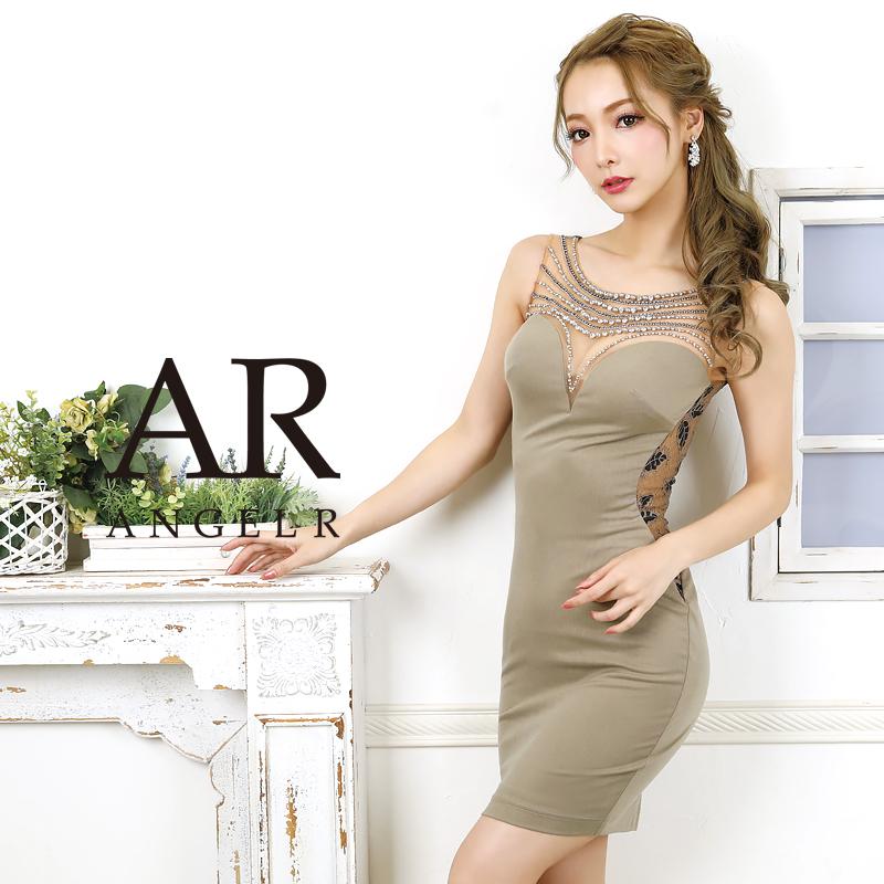 [デコルテビジューサイドレースタイトミニドレス]AngelR(エンジェルアール) AR20305