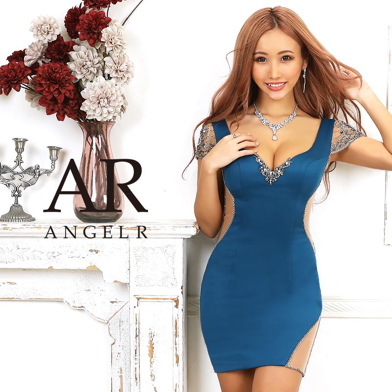 【予約】[ビジューメッシュスリーブタイトミニドレス]AngelR(エンジェルアール)|AR20328【8月中旬~下旬頃より発送】
