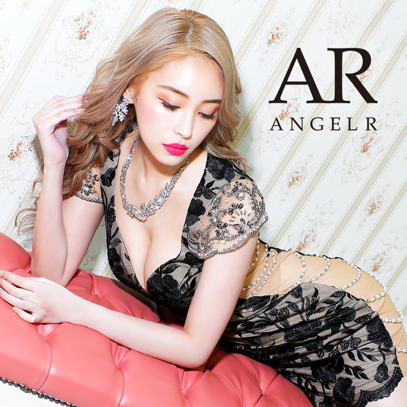 [ビジュースリーブデザインローズレースタイトミニドレス]AngelR(エンジェルアール)|AR20343