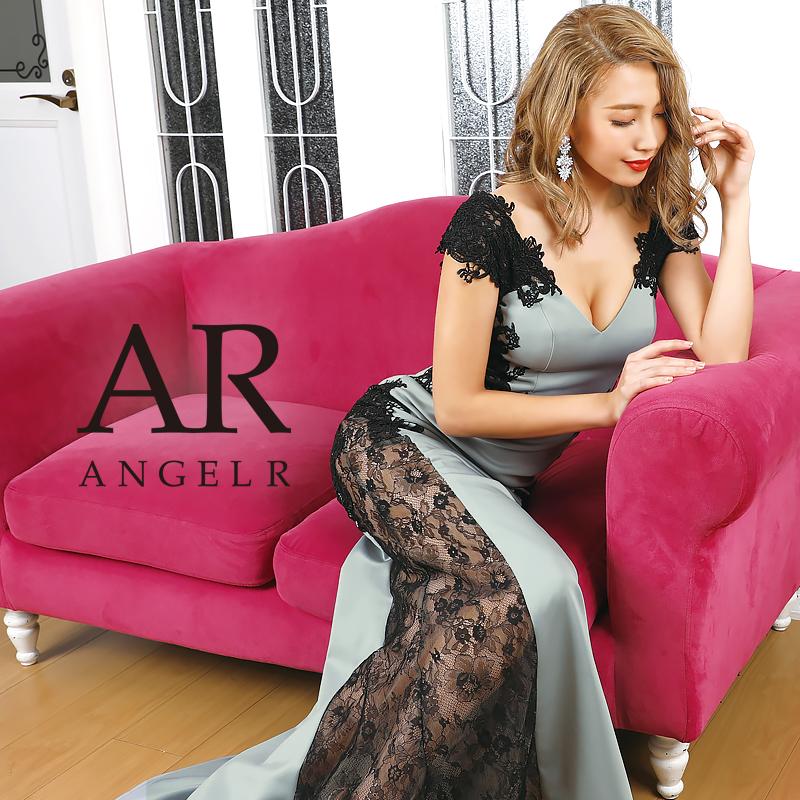 [サイドブラックレースデザインタイトロングドレス]AngelR(エンジェルアール)|AR20817