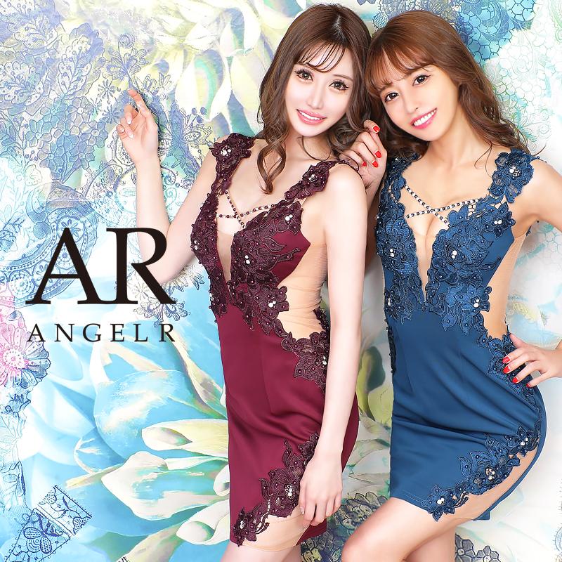 [フラワー刺繍メッシュカッティングタイトミニドレス]AngelR(エンジェルアール)|AR20837