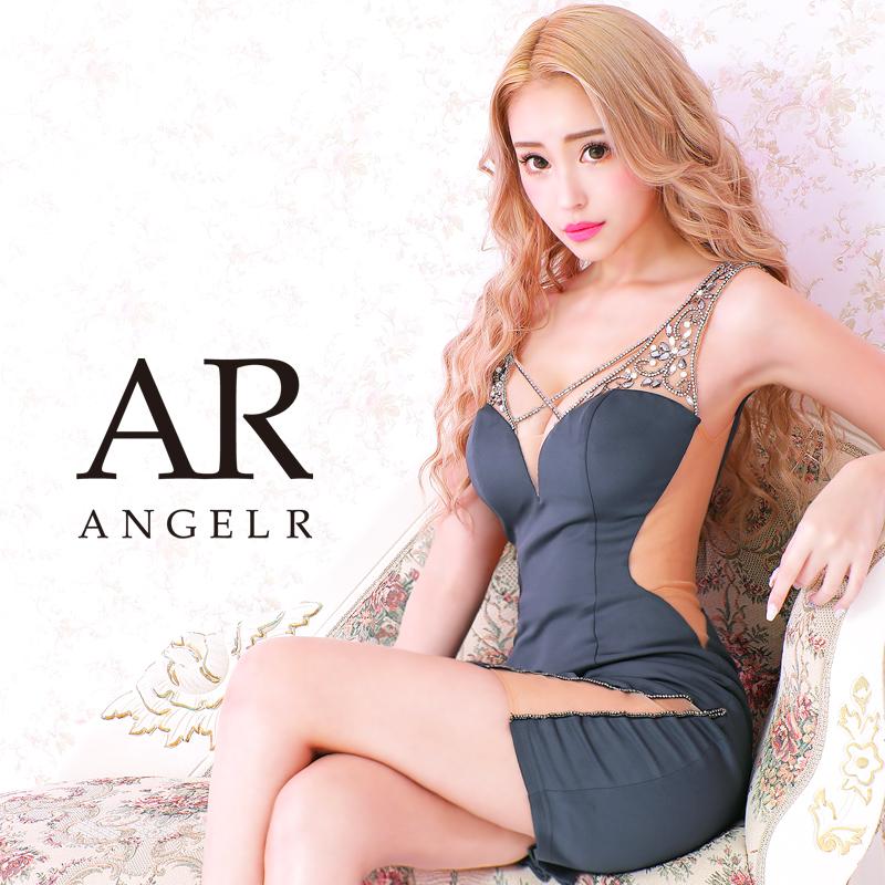 【予約】[グリーン・チャコールグレー/Sサイズ][グリーン・チャコールグレー/Mサイズ]10月下旬から11月上旬より発送[クロスビジューデザインタイトミニドレス]AngelR(エンジェルアール)|AR21209