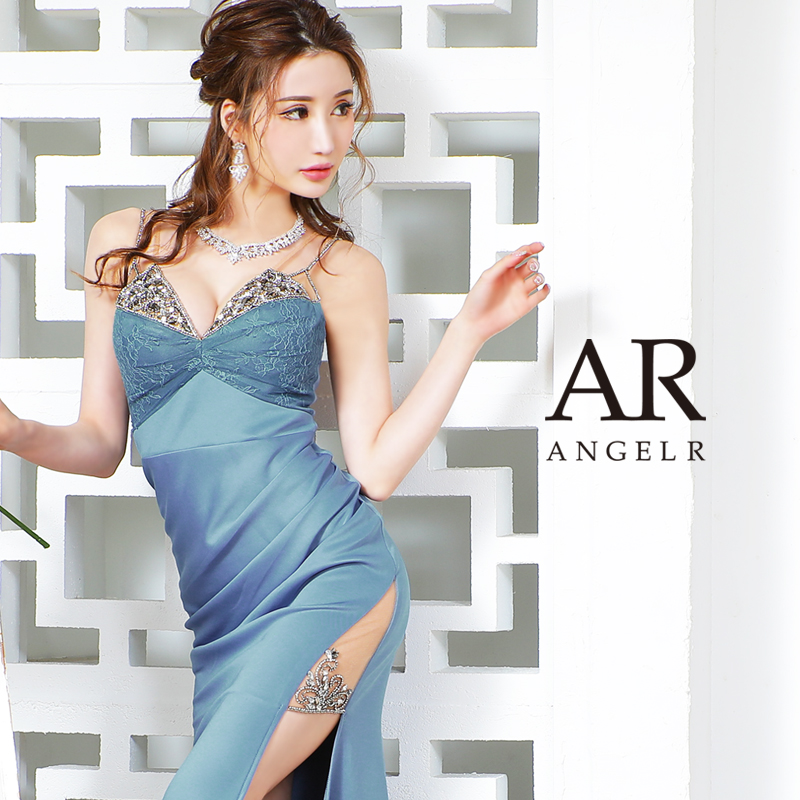 【予約】[パープル/Mサイズ]10月下旬から11月上旬より発送[フロントレースビジュータイトロングドレス]AngelR(エンジェルアール) AR21230