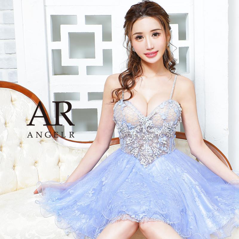 [シースルーレースビジューフレアミニドレス]AngelR(エンジェルアール)|AR21338