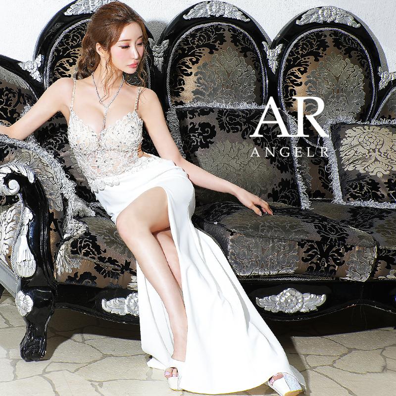 【予約】[ホワイト・レッド・サックス/Sサイズ][ホワイト・サックス/Mサイズ]10月下旬から11月上旬より発送[アップフロントレースビジュータイトロングドレス]AngelR(エンジェルアール)|AR21831
