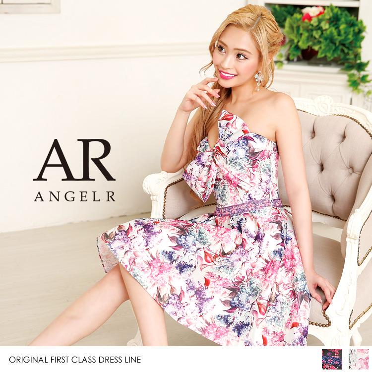 [デコルテリボンフラワーフレアミニドレス]Angel R(エンジェルアール)|AR8221