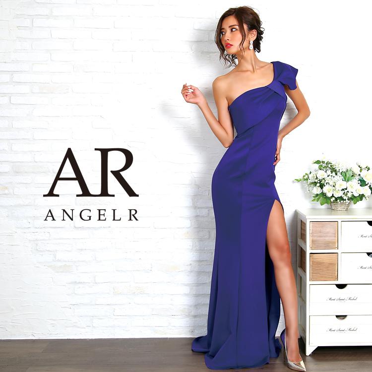 【予約(ロイヤルブルー/S・M)9月上旬~9月中旬発送】[リボンモチーフワンショルダータイトロングドレス]Angel R(エンジェルアール)|AR8234