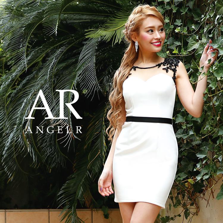 [デコルテシアーレース2トーンタイトミニドレス]Angel R(エンジェルアール)|AR8239