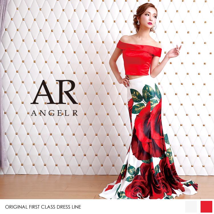 [ローズプリントオフショルダー2ピースドレス]Angel R(エンジェルアール)|AR8803