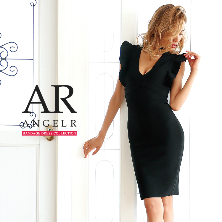 [ネックデザインフレアスリーブバンデージミニドレス]Angel R(エンジェルアール)|AR8911