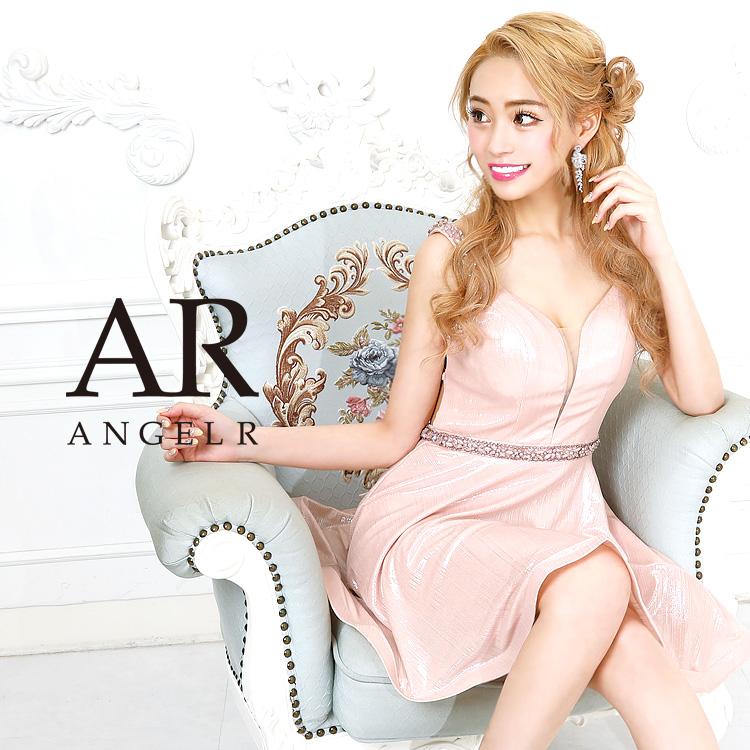 [メタリック生地バックレースアップフレアミニドレス]AngelR(エンジェルアール)|AR9102