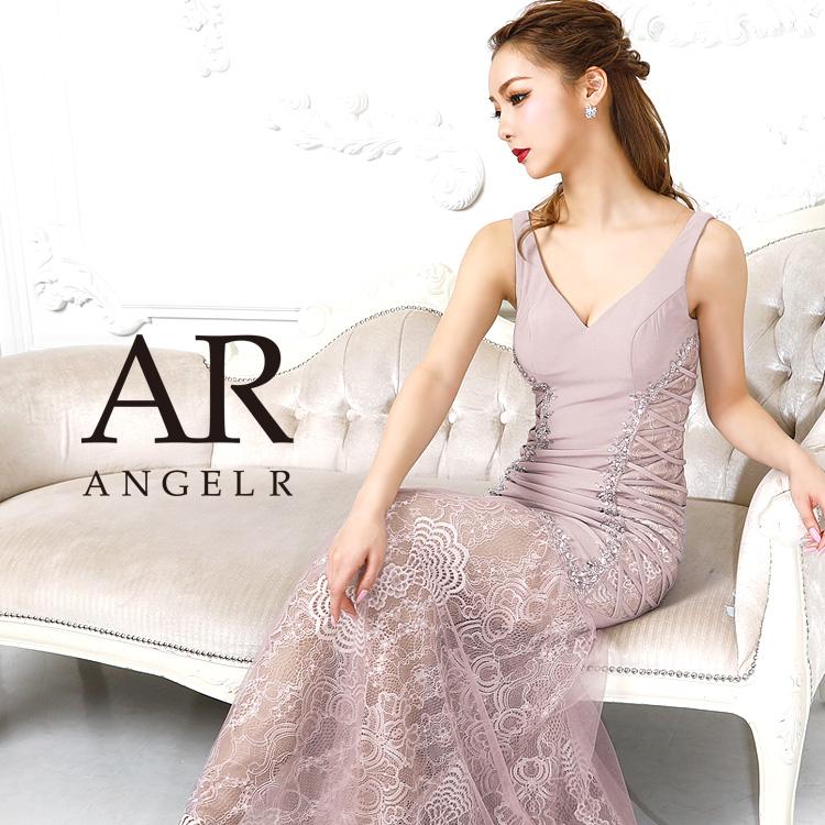 【予約】[レースシアーレッグノースリーブタイトロングドレス]AngelR(エンジェルアール)|AR9218【5月下旬〜6月上旬頃より発送】