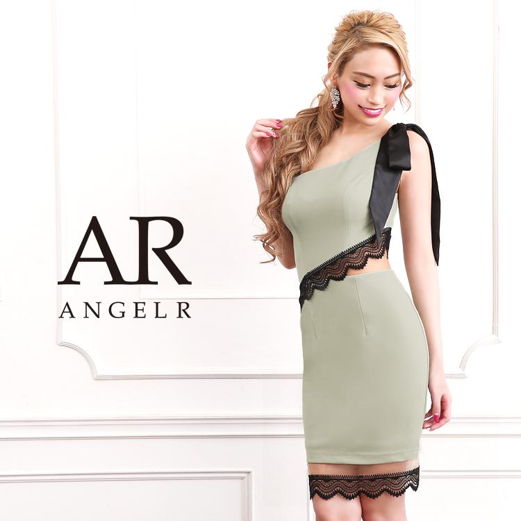 [ワンショルダーリボンシアーレースタイトミニドレス]AngelR(エンジェルアール)|AR9309