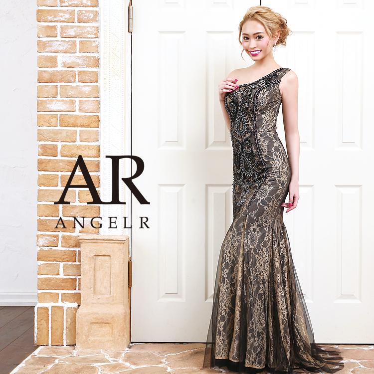 [フラワーレースビジューワンショルダータイトロングドレス]AngelR(エンジェルアール)|AR9318