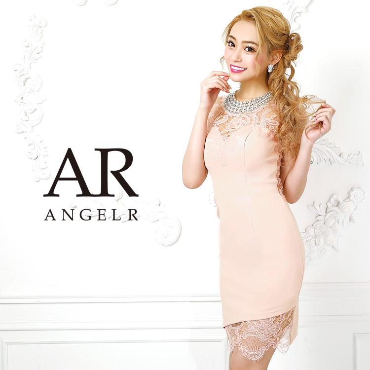 [シースルーレースフレンチスリーブタイトミニドレス]AngelR(エンジェルアール)|AR9321