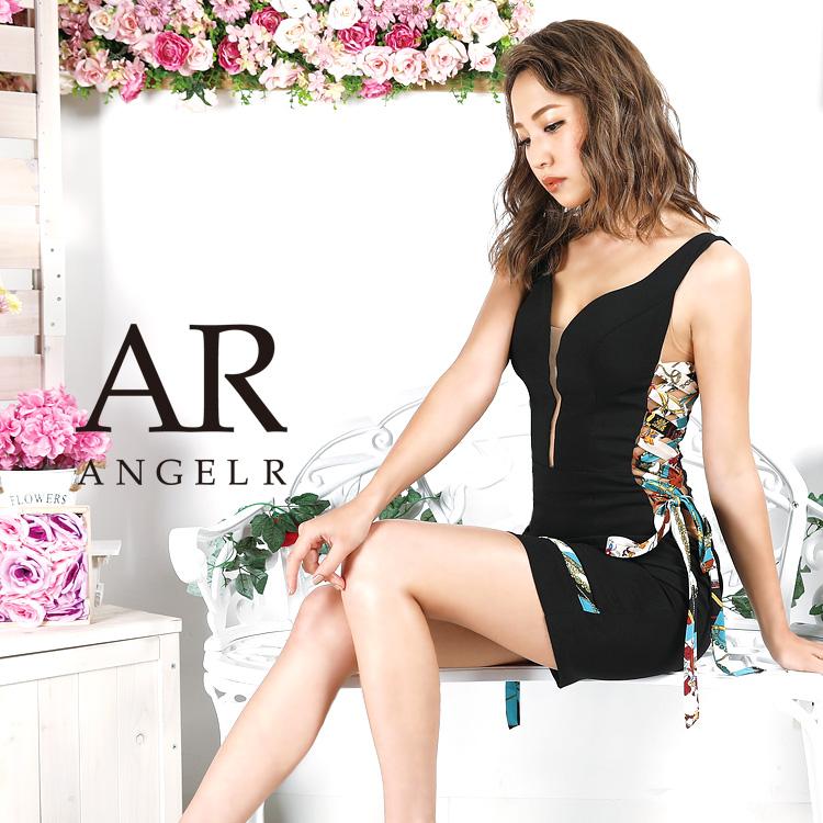 [スカーフ柄サイドシアータイトミニドレス]AngelR(エンジェルアール)|AR9328