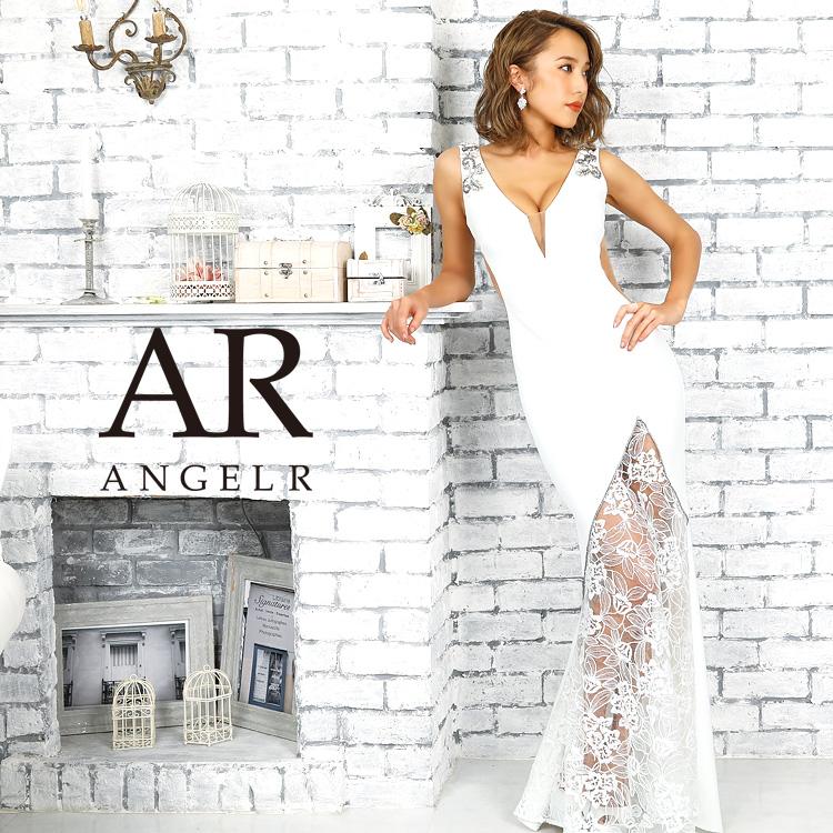 [レース切替えサイドシアータイトロングドレス]AngelR(エンジェルアール)|AR9343