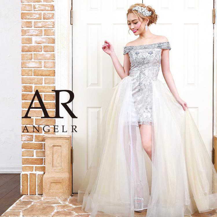 [2WAYオフショルダーラメメッシュショートインロングドレス]AngelR(エンジェルアール)|AR9809