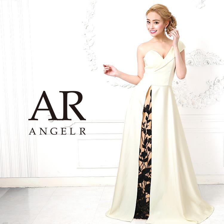 【予約】[アシンメトリースリットレースフレアロングドレス]AngelR(エンジェルアール)|AR9812【5月下旬〜6月上旬頃より発送】