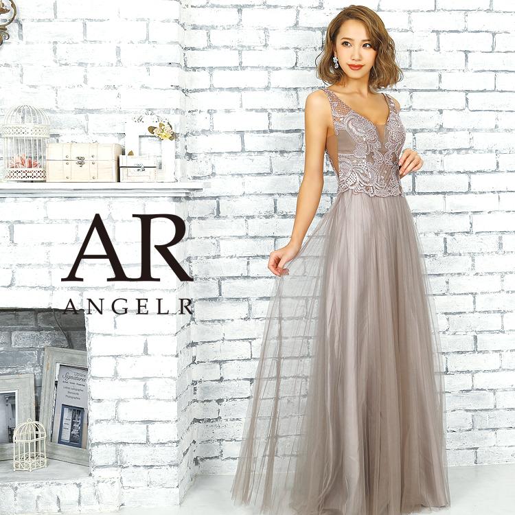 [ビジュー&刺繍デザインフレアロングドレス]AngelR(エンジェルアール)|AR9822