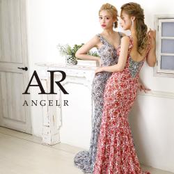 [フラワーパターンデザインビジューロングドレス]AngelR(エンジェルアール) AR20207