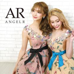 [ウエストリボンフラワーフレアミニドレス]AngelR(エンジェルアール)|AR20808