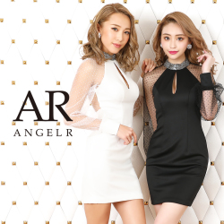 [ドット柄ワイドロングスリーブタイトミニドレス]AngelR(エンジェルアール)|AR20815