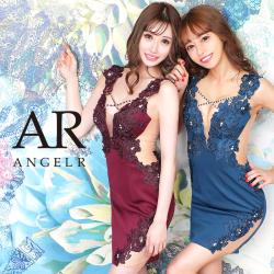 予約[(ホワイト)(ブルー)/Sサイズ][(ホワイト)(ブルー)(グレー)/Mサイズ]【5月下旬から6月上旬発送】[フラワー刺繍メッシュカッティングタイトミニドレス]AngelR(エンジェルアール)|AR20837