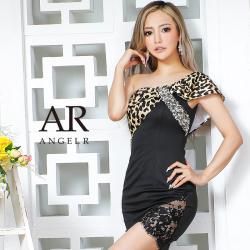 [レオパードリボンワンショルダータイトミニドレス]AngelR(エンジェルアール) AR21225