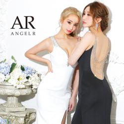 【予約】[ホワイト・ブラック・ピンク・サックス/Sサイズ][ブラック・サックス/Mサイズ]10月下旬から11月上旬より発送[アシンメトリーバックビジュータイトロングドレス]AngelR(エンジェルアール)|AR21324