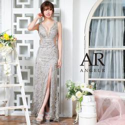 [フラワーレースデザインスパンコールタイトロングドレス]AngelR(エンジェルアール) AR21339