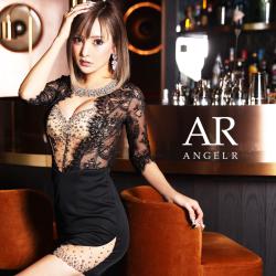 【予約/11月中旬から11月下旬より発送】[デコルテビジューハーフスリーブレースタイトミニドレス]AngelR(エンジェルアール) AR21349