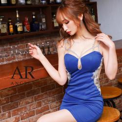 【予約】[ホワイト・ベージュ・マスタード/XSサイズ][ロイヤルブルー・マスタード/Sサイズ][ホワイト・ベージュ・ロイヤルブルー・マスタード/Mサイズ]10月中旬から10月下旬より発送[クロスショルダービジュータイトミニドレス]AngelR(エンジェルアール)|AR21830