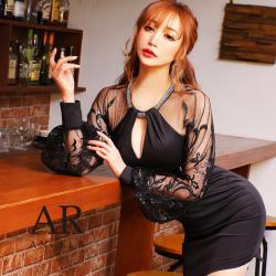 [デコルテビジューバックシースルータイトミニドレス]AngelR(エンジェルアール)|AR21835