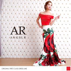 [ローズプリントオフショルダー2ピースドレス]ロングドレス オフショルダー 2ピース フリル 花柄 バラ 細い パーティー 女子会|高級キャバドレスAngelR(エンジェルアール)|AR8803