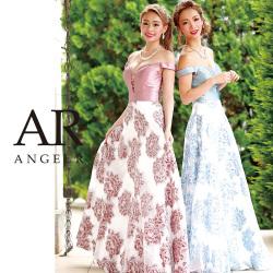 [オフショルダーデザインカットフラワーモチーフフレアロングドレス]Angel R(エンジェルアール)|AR8812