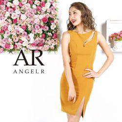 【予約】[デコルテファスナーカットデザインタイトミニドレス]AngelR(エンジェルアール)|AR9220【7月中旬~7月下旬頃より発送】