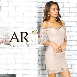 [フラワーレース長袖オフショルダータイトミニドレス]AngelR(エンジェルアール)|AR9232