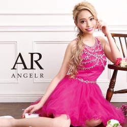 [ビジューバックシアーフレアミニドレス]AngelR(エンジェルアール)|AR9317