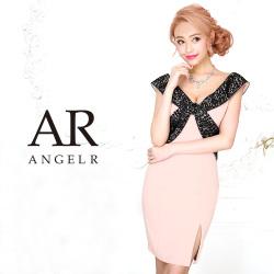 【予約】[レースバイカラーオフショルダータイトミニドレス]AngelR(エンジェルアール)|AR9319【5月中旬〜5月下旬頃より発送】